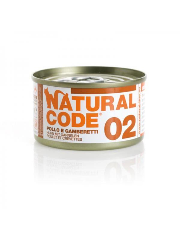 Natural Code Gatto Scatoletta 02 pollo e gamberetti 85g