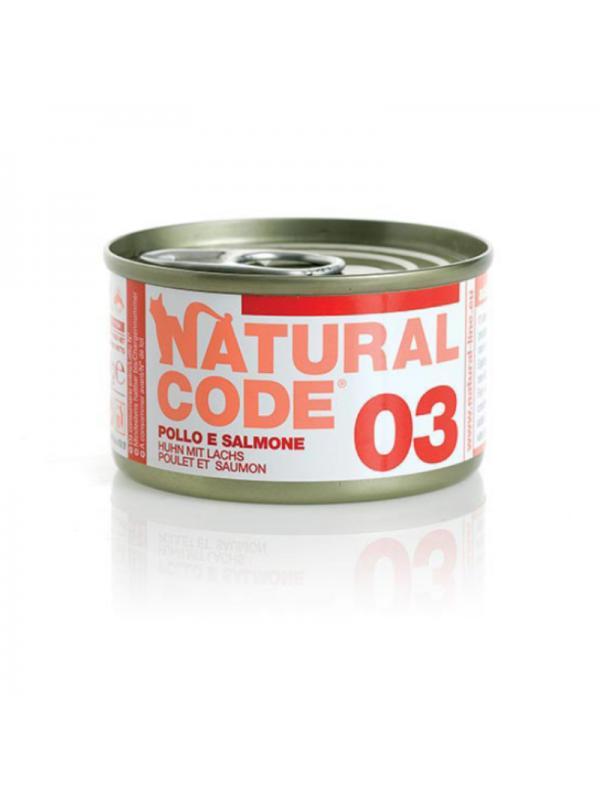 Natural Code Gatto Scatoletta 03 pollo e salmone 85g