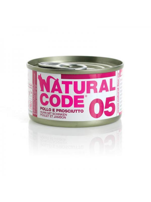 Natural Code Gatto Scatoletta 05 pollo e prosciutto 85g