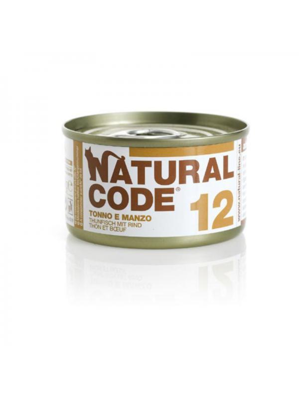 Natural Code Gatto Scatoletta 12 tonno e manzo 85g