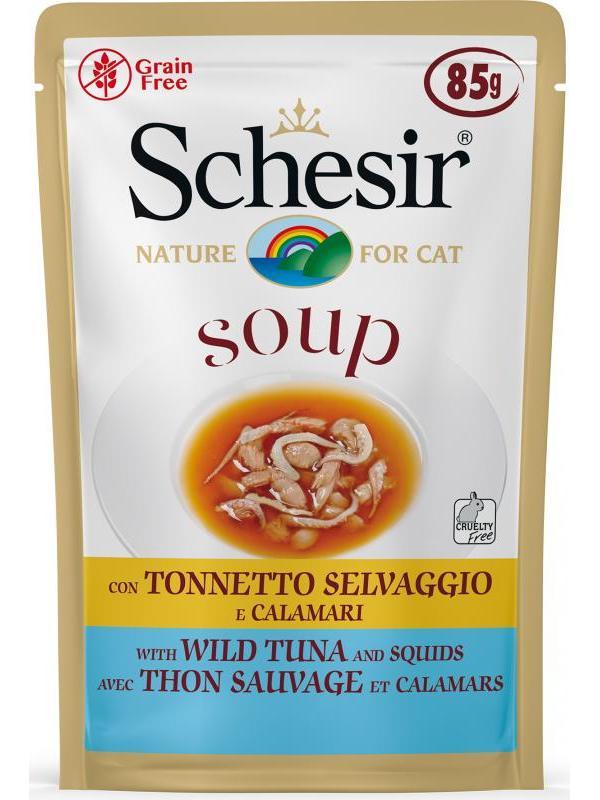 Schesir cat soup busta con tonnetto e calamari 85g