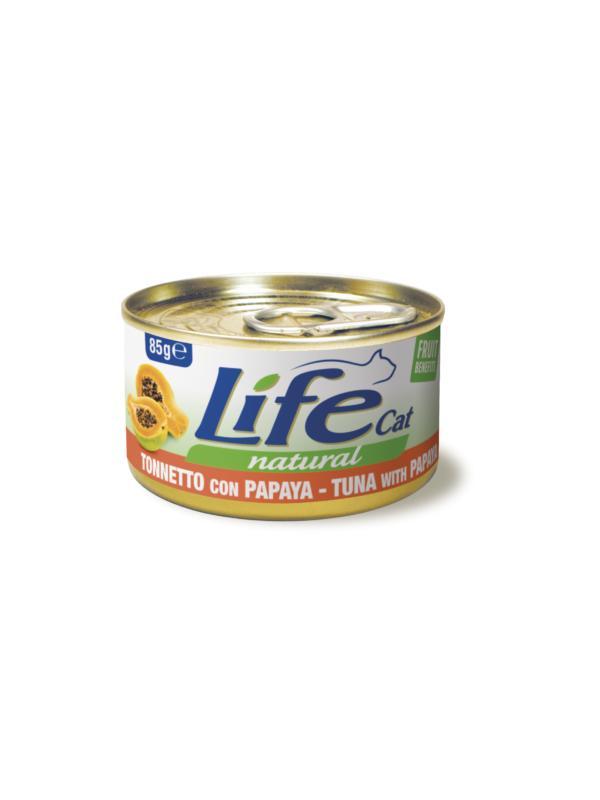 LifePetCare cat scatoletta con tonnetto e papaya 85g