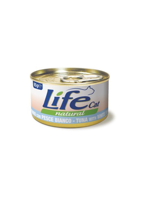 LifePetCare cat scatoletta con tonno e pesce bianco 85g