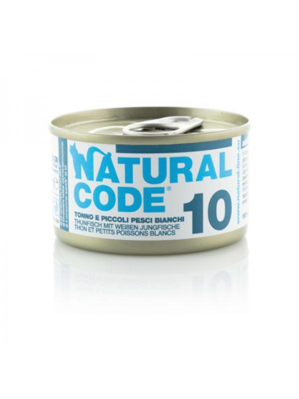 Natural Code Gatto Scatoletta 10 tonno e piccoli pesci bianchi 85g