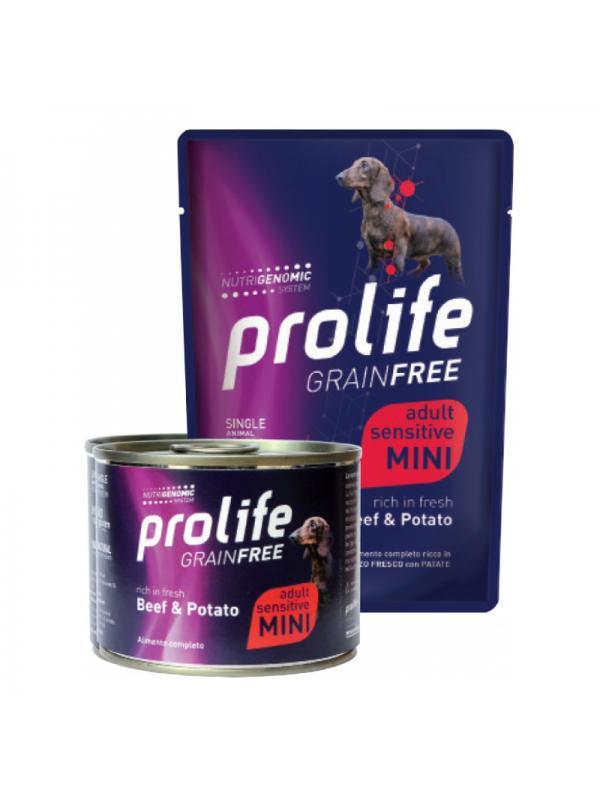 Prolife Dog Grain Free Adult Sensitive Beef & Potato - Busta 100g