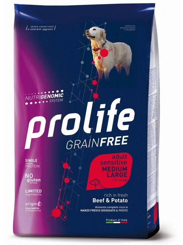 Prolife Grain Free Adult Sensitive Beef & Potato - Medium/Large 2,5kg