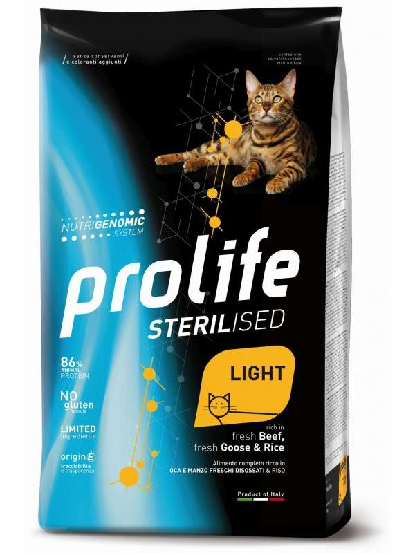 Prolife Sterilised Light Adult fresh Beef, fresh Goose & Rice 1,5kg
