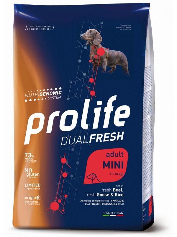Prolife Dual Fresh Adult fresh Beef, fresh Goose & Rice - Mini 7kg