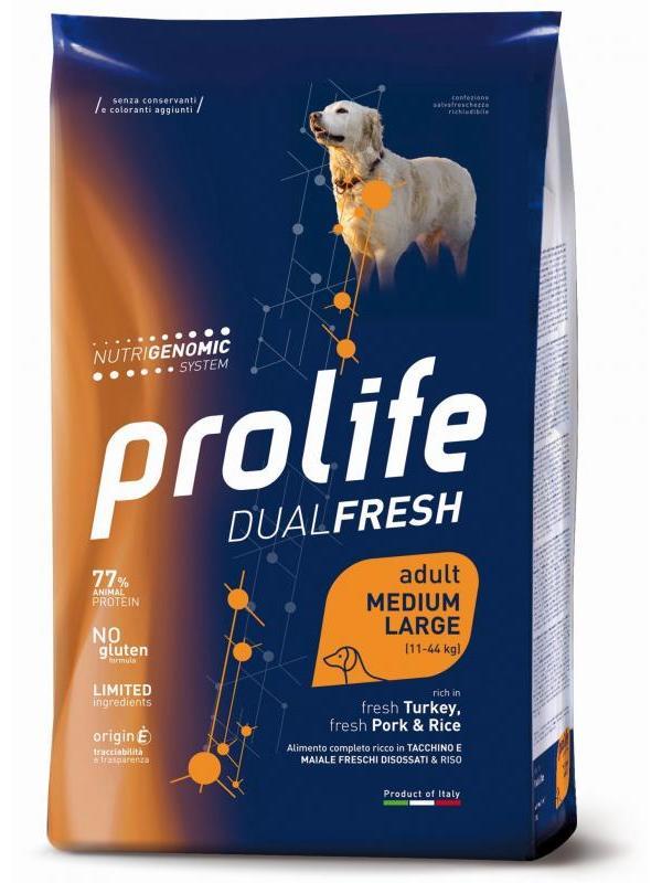 Prolife Dual Fresh Adult fresh Turkey, fresh Pork & Rice - Medium/Large 12kg