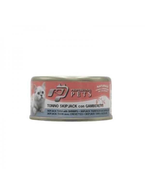 Professional pets Gatto scatoletta con tonno e gamberetti 70g