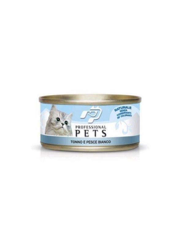 Professional pets Gatto scatoletta con tonno, pesce bianco 70g