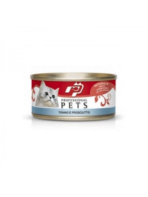 Professional pets Gatto scatoletta con tonno e prosciutto 70g