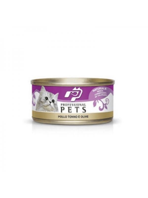 Professional pets Gatto scatoletta con tonno, pollo, olive 70g