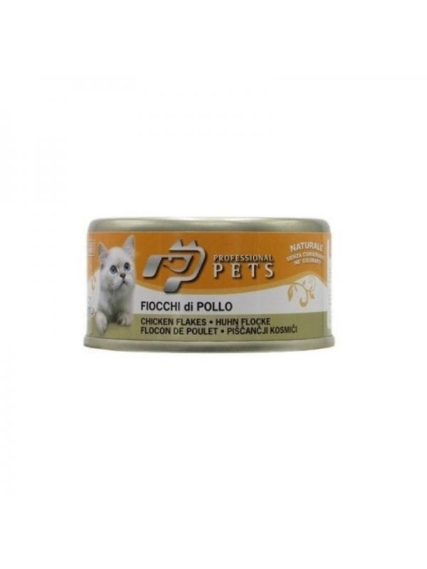 Professional pets Gatto scatoletta con fiocchi di pollo 70g