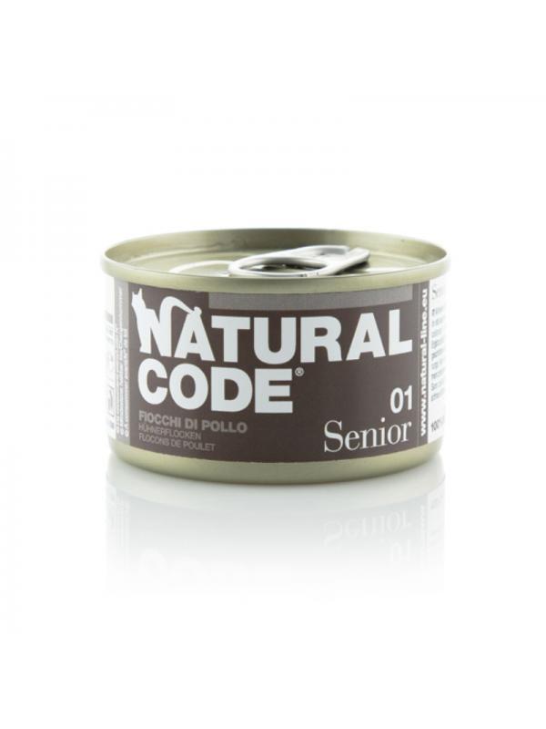 Natural Code Gatto Senior Scatoletta 01 fiocchi di pollo 85g