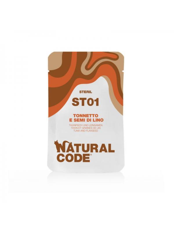Natural Code Gatto sterilizzato busta 01 tonnetto e semi di lino 70g