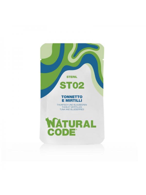 Natural Code Gatto sterilizzato busta 02 tonnetto e mirtilli 70g