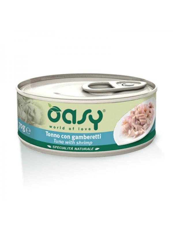 Oasy cat scatoletta con tonno e gamberetti 70g