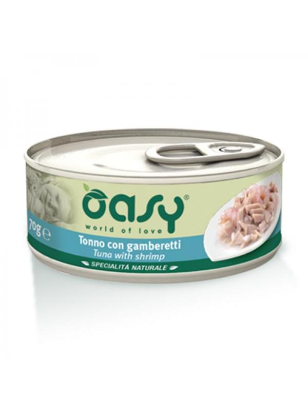 Oasy cat scatoletta con tonno e gamberetti 150g