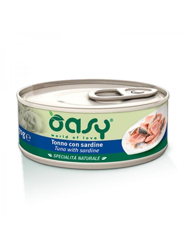 Oasy cat scatoletta con tonno e sardine 70g