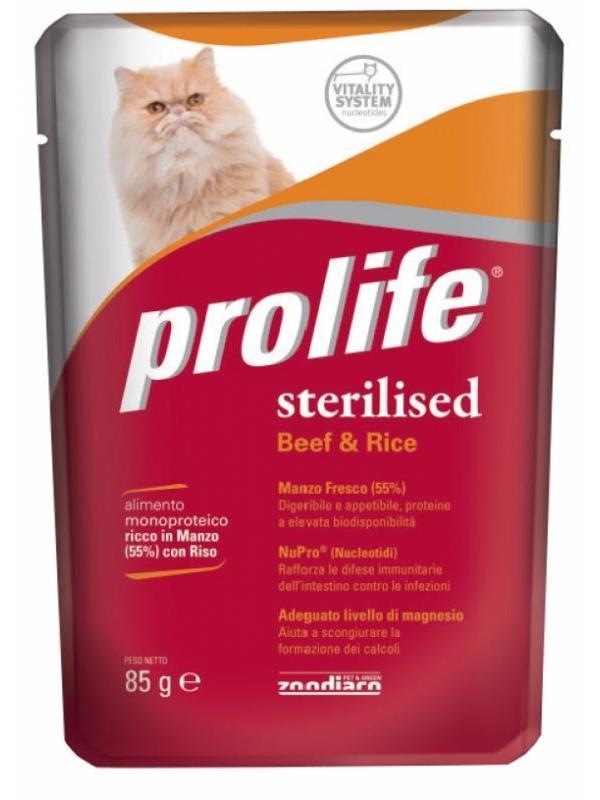 Prolife Wet Adult Sterilised Beef & Rice 85g